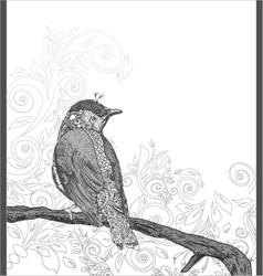 hand drawn bird on branch vector image vector image