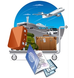 luggage on trolley in airport vector image vector image