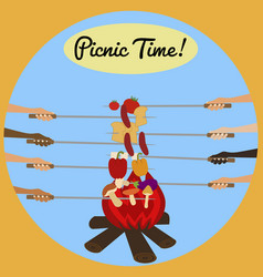 Picnic poster with human hands around campfire vector