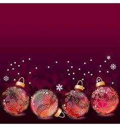 red christmas background with glass balls vector image