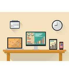 Business stock exchange on various media devices vector image vector image