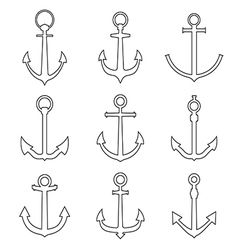 Set of anchors line style vector image