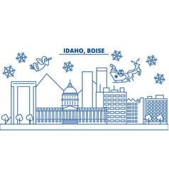 usa idaho boise winter city skyline merry vector image vector image