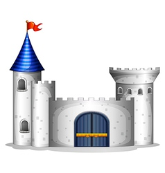 A castle with a red flag vector image vector image