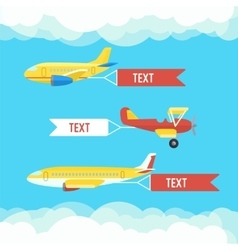 Aeroplane planes and biplane Set of colorful vector image vector image
