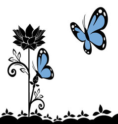butterflies and flowers 19 vector image vector image