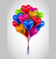 flying bunch of multicolored balloon hearts vector image