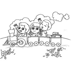 little boy and friend driving a toy train vector image