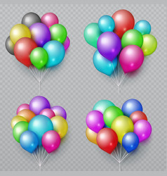 multicolor realistic balloon bunches isolated vector image vector image