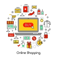 Online Shopping Line Art Thin Icons Set vector image