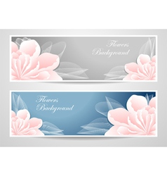 Two flowers banners on blue grey background vector image vector image