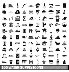 100 water supply icons set simple style vector