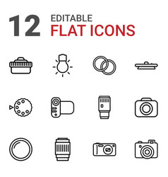 12 photographic icons vector