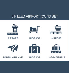 6 airport icons vector image