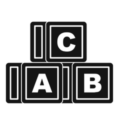 ABC cubes icon simple style vector image
