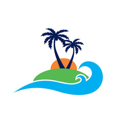 abstract paradise island logo icon vector image