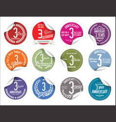 anniversary modern tag and stickers collection 3 vector image