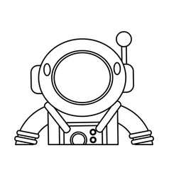 astronaut suit helmet space outline vector image