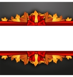 Autumn leaves decorated with a red bow on vector image