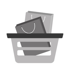 Basket shopping bag gift gray color vector