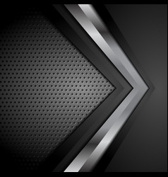 black technology background with metallic arrow vector image