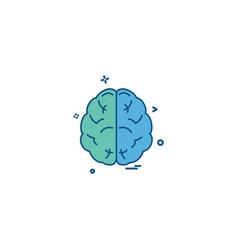 Brain divide inkcontober sains icon desige vector