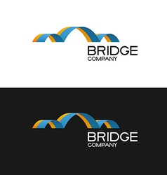 Bridge building company logo template 3D color vector