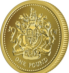 British money gold coin one pound vector image