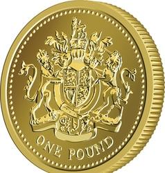 British money gold coin one pound vector