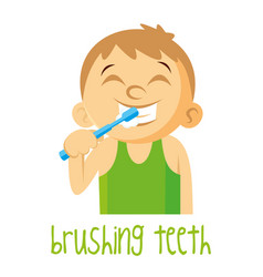 brushing teeth boy vector image