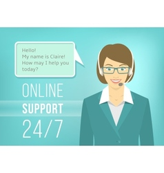 Call Centre Support Woman with Headphones vector image