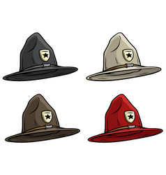 Cartoon canadian ranger top hat icon set vector
