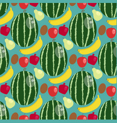 cartoon fresh watermelon banana apple fruits in vector image