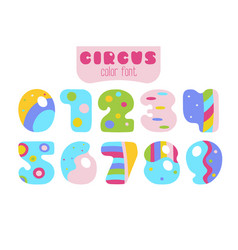 Cartoon style colorful numbers 0 1 2 3 4 5 vector