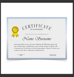 certificate template with blue designe borders on vector image
