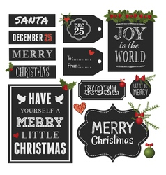 Chalkboard Style Christmas Retro Design Elements vector