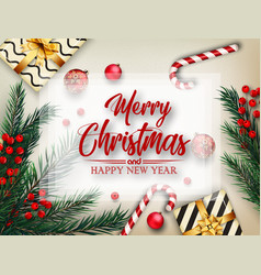 christmas background with fir tree branches and de vector image