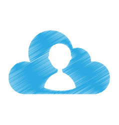 Cloud computing with user silhouette vector