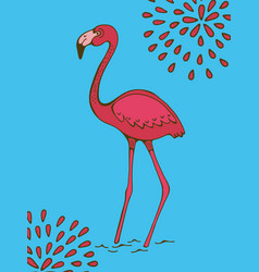 Colorful hand drawn poster with flamingo on blue vector