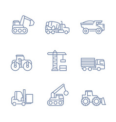 construction vehicles icons linear style vector image