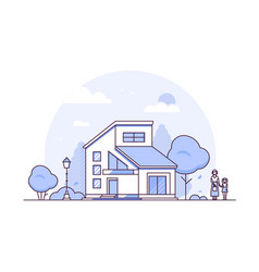 cottage house - thin line design style vector image