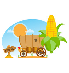 Covered wagon an ear of corn and a wooden pointer vector