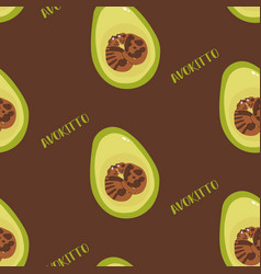 Cozy pattern with avocado and cats vector