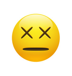 Dead emoticon with cross eyes vector