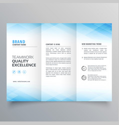 elegant blue trifold brochure flyer design vector image