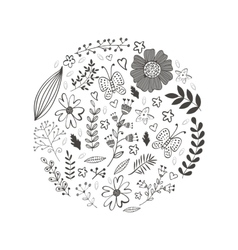 Elegant round composition with flowers leaves and vector