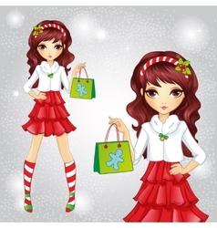 Fashion Girl Dressed As Santa Claus Holding Bag vector