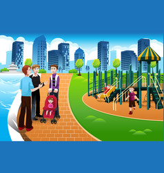 father and their kids in the playground vector image