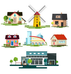 Flat design buildings family house windmill and vector