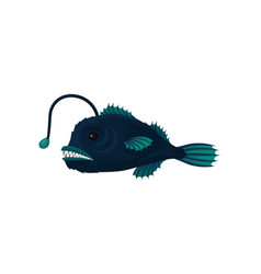 Flat icon blue anglerfish small fish vector